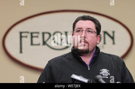 Ferguson, Missouri Mayor James Knowles announces that Police Chief Thomas Jackson will step down, in Ferguson, Missouri on March 11, 2015. Jacksons departure is being called a mutual separation and will be effective March 19. Jackson is leaving following a Justice Department report that accused the city's police and court system of racial bias.    Photo by Bill Greenblatt/UPI