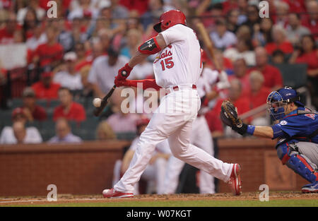 St. Louis Cardinals Randal Grichuk connects for a RBI triple in the second inning against the Chicago Cubs at Busch Stadium in St. Louis on June 26, 2015.   Photo by Bill Greenblatt/UPI - Stock Photo