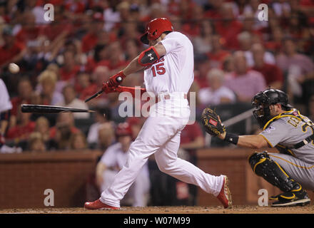 St. Louis Cardinals Randal Grichuk breaks his bat as he swings in the third inning against the Pittsburgh Pirates at Busch Stadium in St. Louis on August 12, 2015. Photo by Bill Greenblatt/UPI - Stock Photo