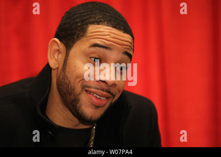St. Louis Cardinals Tommy Pham smiles to fans as he arrives to sign autographs during the St. Louis Cardinals Winter Warm Up in St. Louis on January 16, 2016. Photo by Bill Grenblatt/UPI - Stock Photo