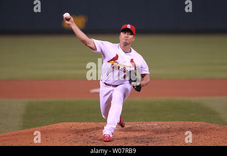 St. Louis Cardinals pitcher Seung Hwan Oh delivers a pitch to the Milwaukee Brewers in the seventh inning at Busch Stadium in St. Louis on April 13, 2016.   Photo by Bill Greenblatt/UPI