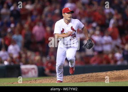 St. Louis Cardinals pitcher Seung Hwan Oh runs to cover first base after getting Pittsburgh Pirates John Jaso to ground out to end the game at Busch Stadium in St. Louis on April 17, 2017. St. Louis won the game 2-1.   Photo by Bill Greenblatt/UPI