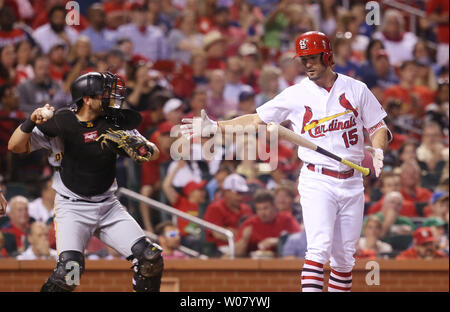 St. Louis Cardinals Randal Grichuk throws his bat after striking out in the fifth inning against the Pittsburgh Pirates at Busch Stadium in St. Louis on April 18, 2017.   Photo by Bill Greenblatt/UPI - Stock Photo