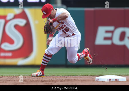 St. Louis Cardinals second baseman Kolten Wong drops the baseball for an error off the bat of Tornonto Blue Jays Ryan Goins in the second inning at Busch Stadium in St. Louis on April 27, 2017. Photo by Bill Greenblatt/UPI - Stock Photo