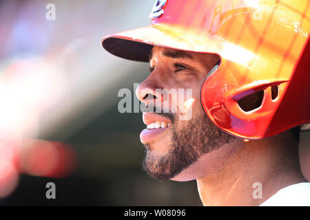 St. Louis Cardinals Tommy Pham waits to bat against the Chicago Cubs in the seventh inning at Busch Stadium in St. Louis on May 14, 2017. Photo by Bill Greenblatt/UPI - Stock Photo