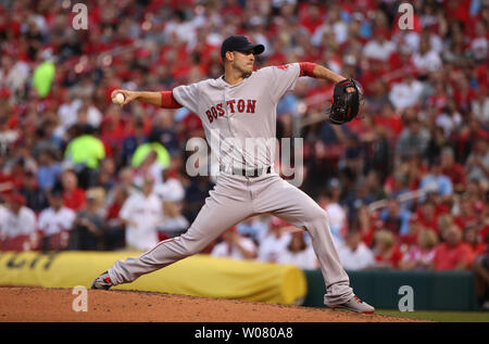 Boston Red Sox starting pitcher Rick Porcello delivers a pitch to the St. Louis Cardinals in the second inning at Busch Stadium in St. Louis on May 17, 2017.  Photo by Bill Greenblatt/UPI - Stock Photo