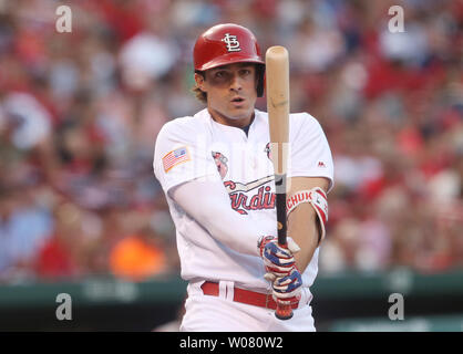 St. Louis Cardinals Randal Grichuk stares at his bat between pitches in the second inning against the Washington Nationalsat Busch Stadum in St. Louis on July 2, 2017. Photo by Bill Greenblatt/UPI - Stock Photo