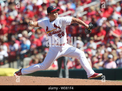 St. Louis Cardinals pitcher Seung Hwan Oh delivers a pitch to the Arizona Diamondbacks in the eighth inning at Busch Stadium in St. Louis on July 30, 2017. St. Louis defeated Arizona 3-2.  Photo by Bill Greenblatt/UPI