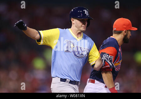 Tampa Bay Rays starting pitcher Jake Odorizzi beats the throw to first base, good for a RBI single in the third inning against the St. Louis Cardinals at Busch Stadium in St. Louis on August 25, 2017. Tampa Bay defeated St. Louis 7-3. Photo by Bill Greenblatt/UPI - Stock Photo