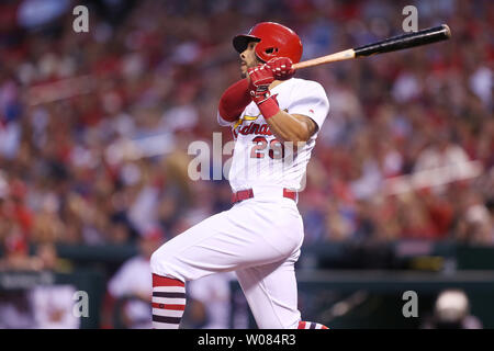 St. Louis Cardinals Tommy Pham swings, hitting a three run home run in the second inning against the Chicago Cubs at Busch Stadium in St. Louis on May 2, 2018.   Photo by Bill Greenblatt/UPI - Stock Photo