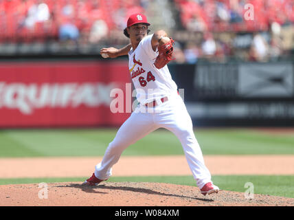 St. Louis Cardinals pitcher Sam Tuivailala delivers a pitch to the Minnesota Twins in the sixth inning at Busch Stadium in St. Louis on May 8, 2018. Minnesota defeated St. Louis 7-1. Photo by Bill Greenblatt/UPI - Stock Photo