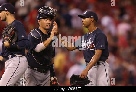 Atlanta Braves pitcher Sam Freeman and catcher Kurt Suzuki celebrate the third out and a 11-4 win over the St. Louis Cardinals at Busch Stadium in St. Louis on June 30, 2018.  Photo by Bill Greenblatt/UPI - Stock Photo