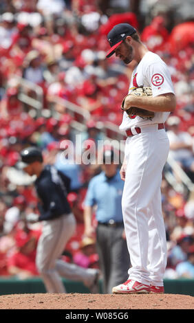 St. Louis Cardinals starting pitcher John Gant looks to his feet as Atlanta Braves Freddie Freeman rounds third base, hitting a two run home run in the sixth inning at Busch Stadium in St. Louis on July 1, 2018.  Photo by Bill Greenblatt/UPI - Stock Photo