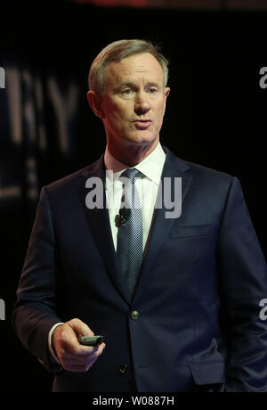 Admiral William McRaven makes his remarks while speaking to a Drury Hotel Annual meeting in St. Charles, Missouri on February 6, 2019. McRaven,  the former chancellor of the University of Texas, is a former United States Navy officer who last served as the ninth commander of the United States Special Operations Command from 2011 to 2014. McRaven is credited for organizing and overseeing the execution of Operation Neptune Spear, the special ops raid that led to the death of Osama bin Laden in 2011. McRaven retired from the U.S. Navy in September 2014. During the last few years of his career he - Stock Photo