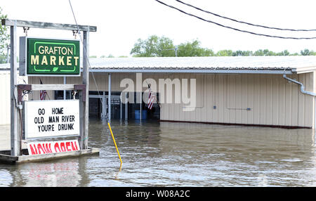 Flooding on the Mississippi River near Canton Missouri Stock