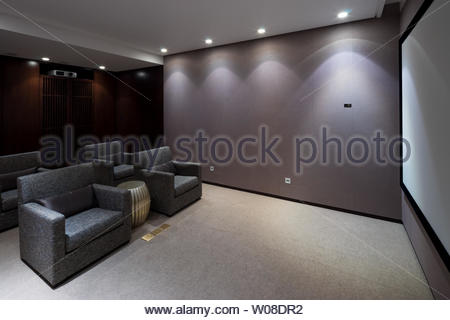design and furniture in modern home theatre - Stock Photo