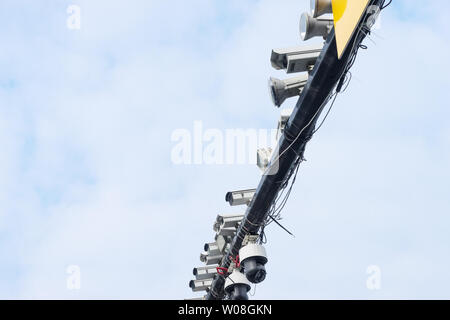 traffic camera above road in cloud sky - Stock Photo