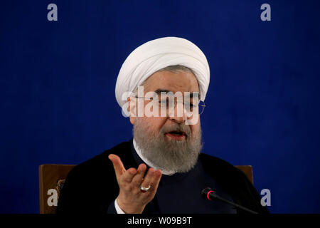 Iranian President Hassan Rouhani delivers speech during his first press conference after his victory in Friday's presidential election, winning 57% of the vote in Tehran, Iran on May 22, 2017.     Photo by Maryam Rahmanian/UPI - Stock Photo