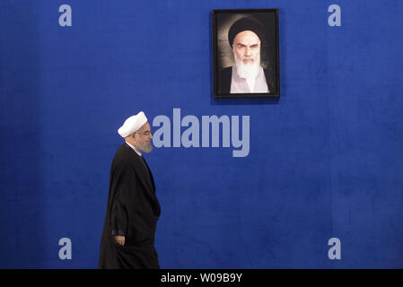 Iranian  president Hassan Rouhani arrives for his first press conference after his victory  in Friday's presidential election, winning 57% of the vote in Tehran, Iran, on May 22, 2017.        Photo by Maryam Rahmanian/UPI - Stock Photo