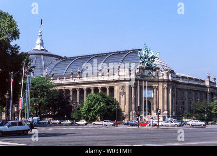 France.Paris.The Grand Palais des Champes-Elyees. Photographed from across the Champes-Elyees. - Stock Photo