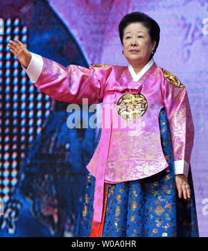 Hak-Ja Han, wife of late Unification Church founder Sun Myung Moon attends a Blessing Ceremony of the Family Federation for World Peace and Unification at the CheongShim Peace World Center in Gapyeong, South Korea, on February 20, 2016.     Photo by keizo Mori - Stock Photo