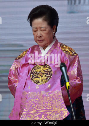 Hak-Ja Han, wife of late Unification Church founder Sun Myung Moon prays a Blessing Ceremony of the Family Federation for World Peace and Unification at the CheongShim Peace World Center in Gapyeong, South Korea, on February 20, 2016.     Photo by keizo Mori - Stock Photo