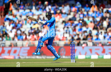 India's KL Rahul in batting action during the ICC Cricket World Cup group stage match at Emirates Old Trafford, Manchester. - Stock Photo
