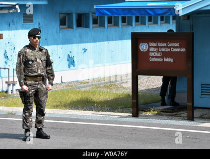 South Korean soldier stands guard at the joint security area (JSA) of Panmunjom in the demilitarized zone (DMZ) near Paju, South Korea on August 25, 2018.     Photo by Keizo Mori/UPI