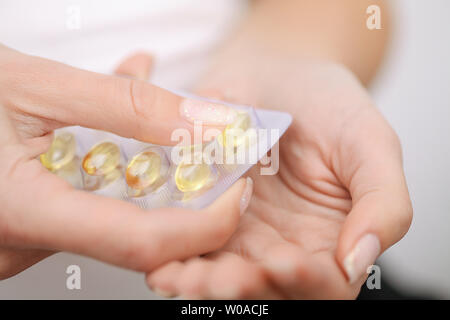 Acceptance of drugs. Self-treatment at home. Pills prescribed by your doctor. - Stock Photo