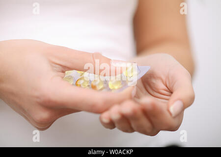 Acceptance of drugs. Self-treatment at home. Pills prescribed by your doctor - Stock Photo
