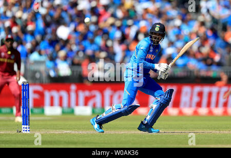 India's KL Rahul during the ICC Cricket World Cup group stage match at Emirates Old Trafford, Manchester. - Stock Photo