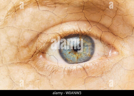 Cracked Skin. Closeup of a female eye with cracked skin. Aging process or pain and loneliness conceptual image . - Stock Photo