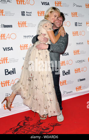 Malin Akerman and director Todd Strauss-Schulson arrive at the Midnight Madness premiere of 'The Final Girls' on closing night of the Toronto International Film Festival at Ryerson Theatre in Toronto, Canada on September 19, 2015. Photo by Christine Chew/UPI - Stock Photo