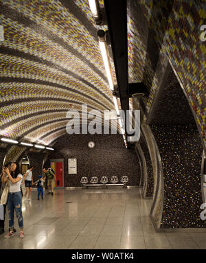 BUDAPEST HUNGARY - METRO STATIONS AND PASSENGERS IN BUDAPEST UNDERGROUND TRANSPORT - OLD AND NEW STATIONS IN BUDAPEST METRO - PASSENGERS IN METRO - STATIONS DE METRO  À BUDAPEST © Frédéric BEAUMONT - Stock Photo
