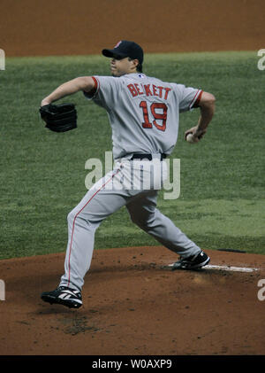 Boston Red Sox pitcher Josh Beckett pitches against the Tampa Bay Rays during the first inning of game 6 of the American League Championship Series at Tropicana Field in St. Petersburg, Florida on October 18, 2008. The Rays lead the  series 3-2.  (UPI Photo/Kevin Dietsch) - Stock Photo