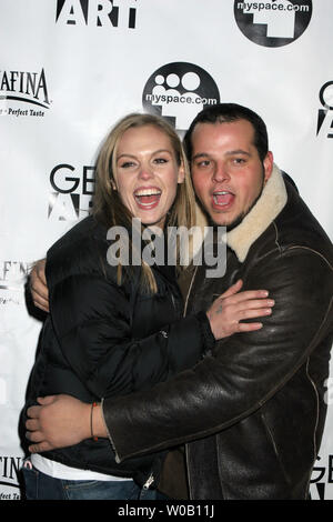 Agnes Bruckner and her guest arrive at a party where the Beastie Boys were performing at the Sundance Film Festival in Park City, Utah, on January 23, 2006.    (UPI Photo/Roger Wong) - Stock Photo