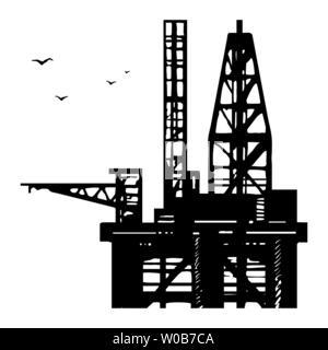 Platform drilling offshore oil. - Stock Photo
