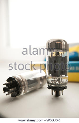 Old vacuum Electronic tubes or light bulbs - Stock Photo