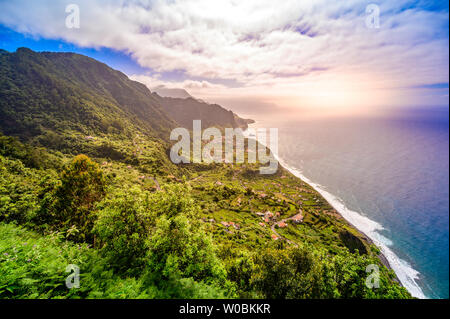 Beautiful landscape scenery of Madeira Island - View of small village Arco de Sao Jorge near Boaventura on the north side of Madeira, Portugal - Stock Photo