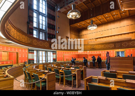 Oslo Radhus, view of the Council Chamber inside the Oslo City Hall (Radhus), Norway. - Stock Photo