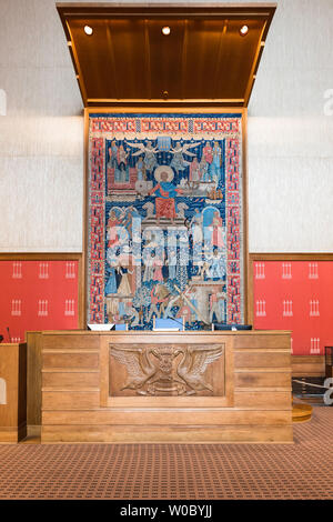 Oslo City Hall, view of the Speaker's Chair in the Council Chamber inside Oslo City Hall (Radhus), Norway. - Stock Photo