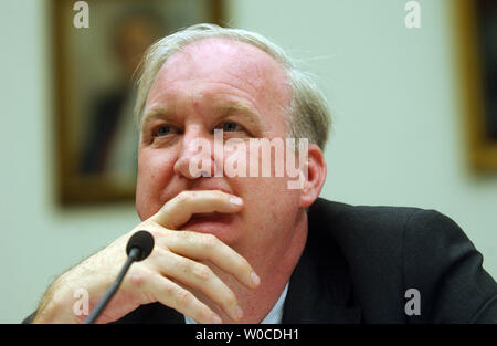 Lorne Craner, Assistant Secretary of Bureau of Democracy, Human Rights and Labor at the Department of State testifies before the Subcommittee on International Terrorism, Nonproliferation and Human Rights regarding human rights abuses on July 7, 2004 in Washington. (UPI Photo/Michael Kleinfeld) - Stock Photo