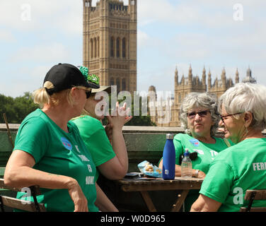 London, UK. 26th June 2019. Four women discussing the day so far and having a rest during a mass lobby of MP's around the Houses of Parliament in London, organised by The Climate Coalition and Greener UK, pressing for more urgent and bold action on climate change. Credit: Joe Kuis / Alamy News - Stock Photo