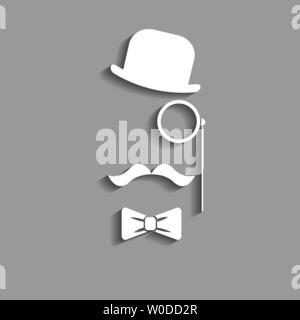 abstract vector hipster paper silhouette with bowler hat, monocle, mustache and bow tie vector icon - Stock Photo