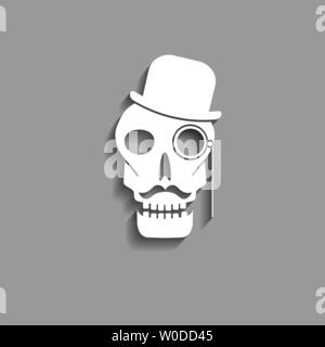abstract skull paper silhouette with mustache monocle and bowler hat vector icon - Stock Photo