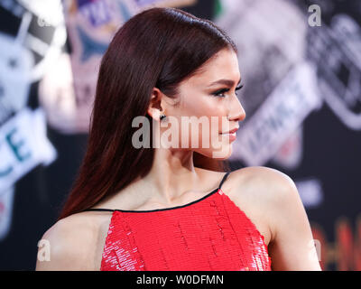 Hollywood, United States. 26th June, 2019. HOLLYWOOD, LOS ANGELES, CALIFORNIA, USA - JUNE 26: Actress Zendaya Coleman wearing an Armani Prive dress and Christian Louboutin shoes arrives at the Los Angeles Premiere Of Sony Pictures' 'Spider-Man Far From Home' held at the TCL Chinese Theatre IMAX on June 26, 2019 in Hollywood, Los Angeles, California, United States. (Photo by Xavier Collin/Image Press Agency) Credit: Image Press Agency/Alamy Live News - Stock Photo