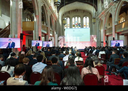 London, Britain. 26th June, 2019. Delegates attend the 2nd China-UK Economic and Trade Forum in London, Britain, June 26, 2019. With around 250 attendees from both countries, the forum focused on two topics, which are 'the development of China-UK economic and trade relations, and new cooperation opportunities' and 'the new measures of China's opening up and China-UK cooperation on the Belt and Road Initiative.' Credit: Ray Tang/Xinhua/Alamy Live News - Stock Photo