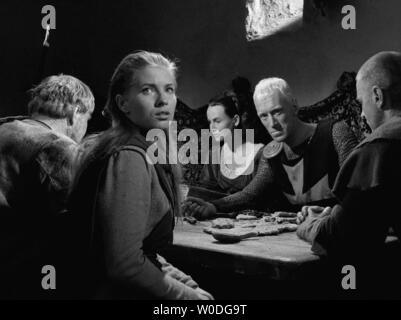 LE SEPTIEME SCEAU LE 7eme SCEAU DET SJUNDE INSEGLET 1957 de Ingmar Bergman Ake Fridell Gunnel Lindblom Inga Landgre Max von Sydow Gunnar Bjornstrand. - Stock Photo