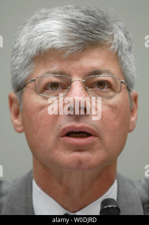 Rep. Bart Stupak (D-MI) testifies before a House Judiciary Committee hearing on rising gas prices and the oil industry, in Washington on May 16, 2007. (UPI Photo/Kevin Dietsch) - Stock Photo