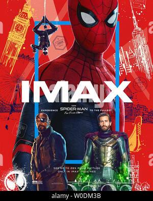 SPIDER-MAN: FAR FROM HOME 2019 de Jon Watts teaser americain Tom Holland. super heros; super hero; spiderman; spider-man; spider man d'apres la bande - Stock Photo